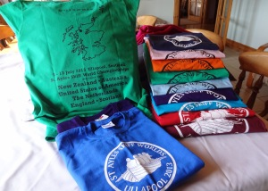 The Tee shirts are from top of pile on right : Navy Pale pink Orange Green Light blue Purple Azure blue Red Burgundy Royal Blue - flat